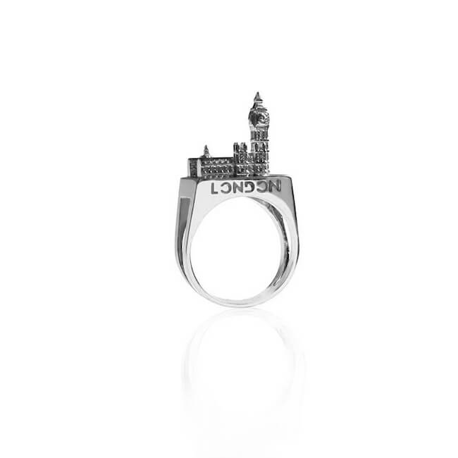 Rhodium Plated London Ring by Cristina Ramella