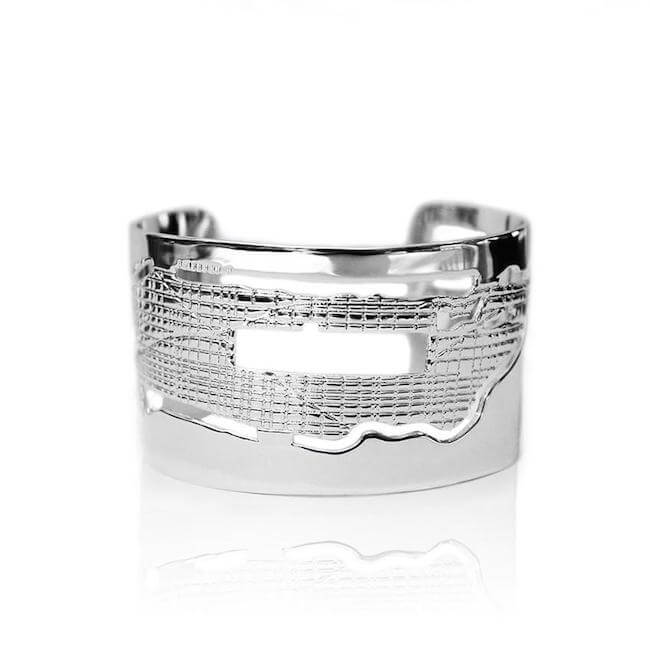 Rhodium Plated Manhattan Cuff by Cristina Ramella