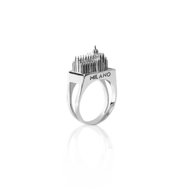 Rhodium Plated Milano Ring by Cristina Ramella