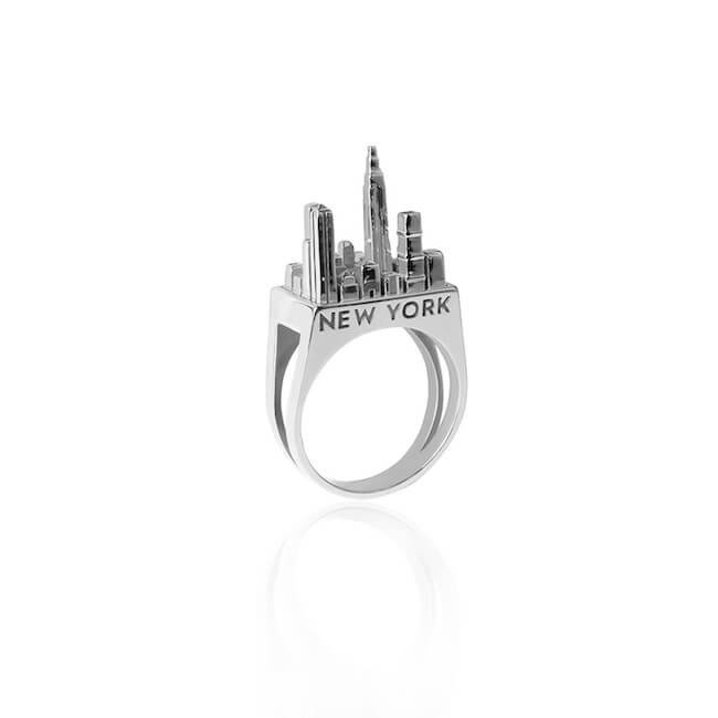 Rhodium Plated New York City Ring by Cristina Ramella