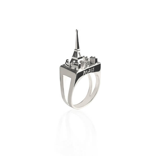 Rhodium Plated Paris City Ring by Cristina Ramella