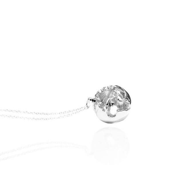 Sterling Silver World Globe Necklace by Cristina Ramella
