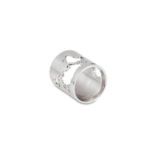 Sterling Silver World Long Ring by Cristina Ramella