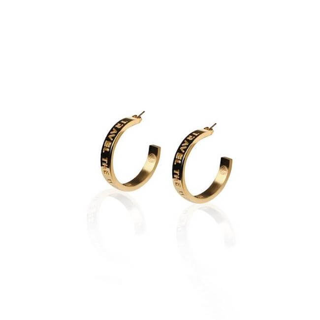 24K Gold Plated Small Travel The World Hoops by Cristina Ramella