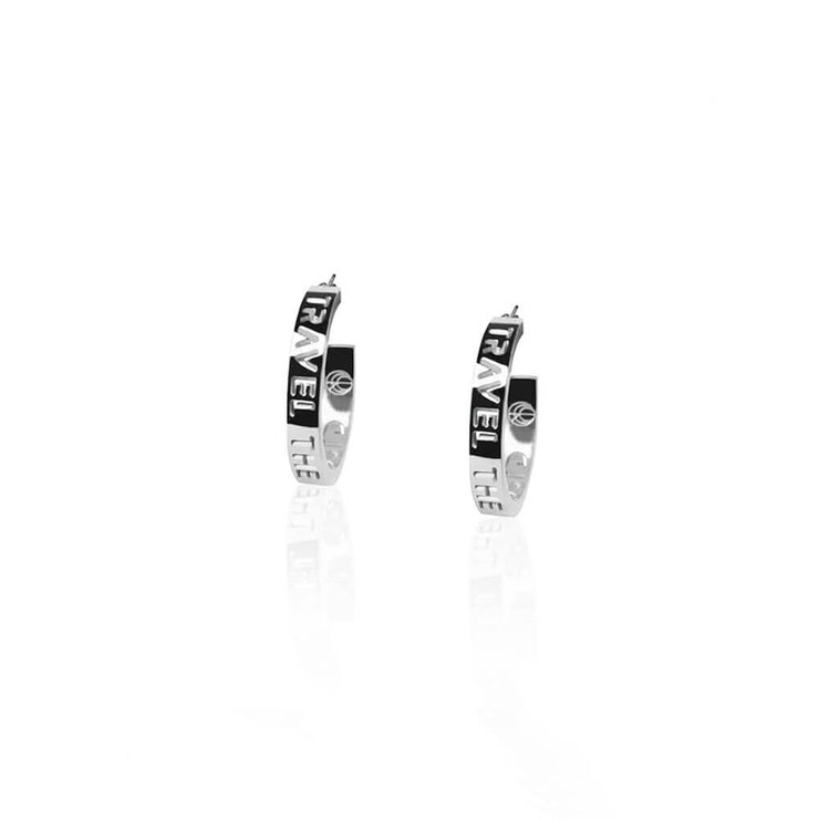 Rhodium Plated Small Hoops Earrings by Cristina Ramella
