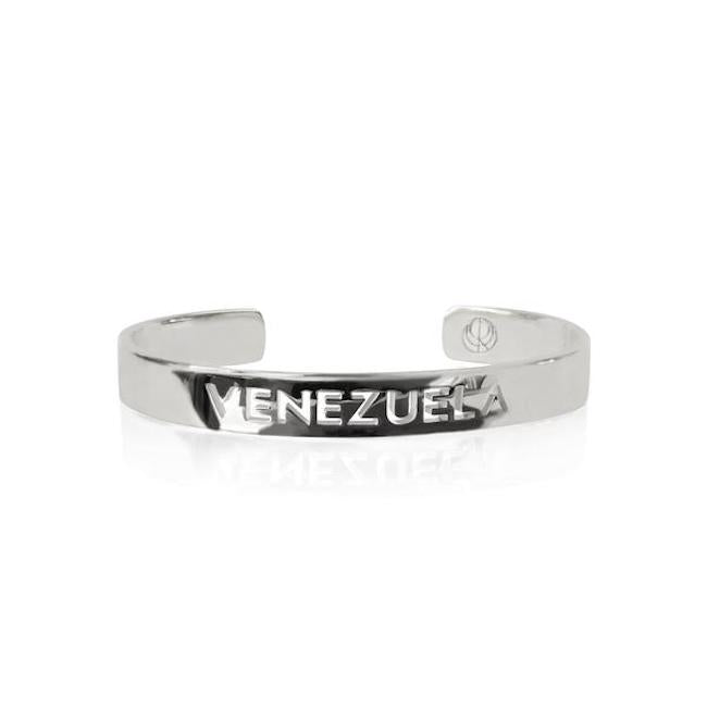 Rhodium Plated Venezuela Bracelet Bangle by Cristina Ramella