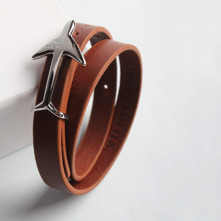 Wearing Rhodium Plated Leather Bracelet by Cristina Ramella