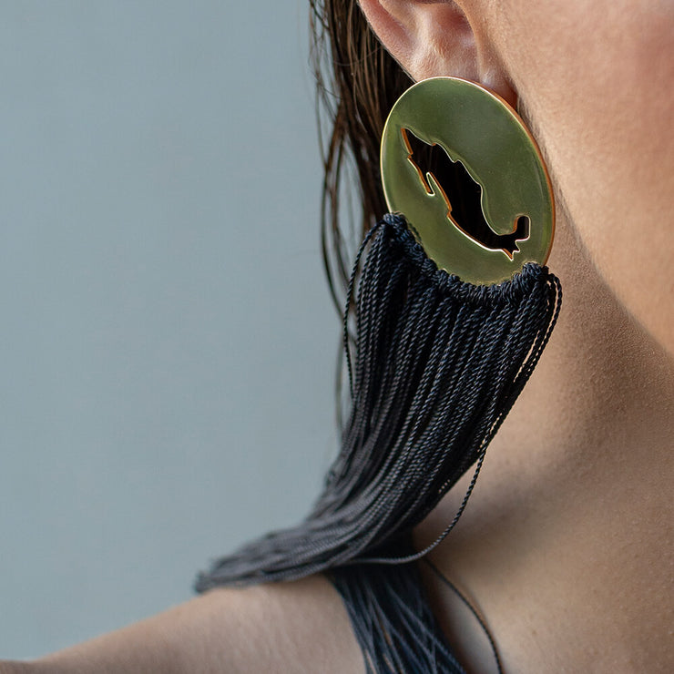 Detail wearing Gracias Mexico Earring by Cristina Ramella