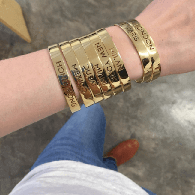 Sample 24K Gold Plated Travel The World Bracelet Bangle by Cristina Ramella