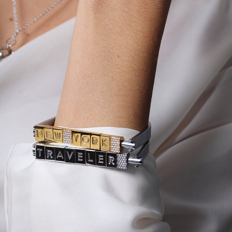 Wearing Bricks Bracelet by Cristina Ramella