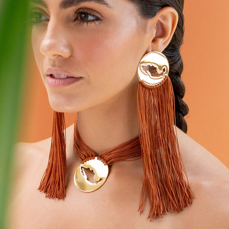 Wearing Brown Gracias Mexico Earrings by Cristina Ramella