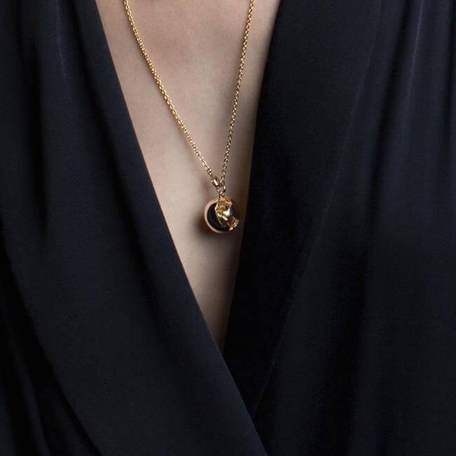 Wearing 14K Globe Necklace by Cristina Ramella
