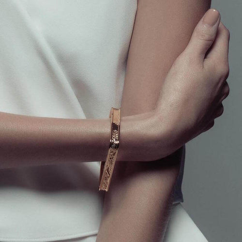 24K Gold Plated Paris Square Bangle by Cristina Ramella