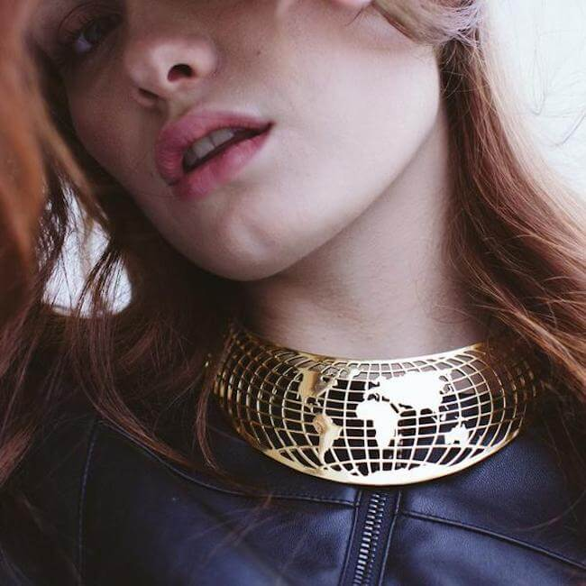 Sample Compass Choker 24K Gold Plated by Cristina Ramella