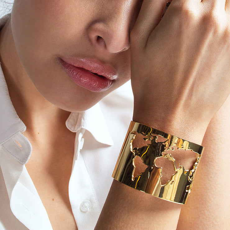 Wearing World Cuff by Cristina Ramella