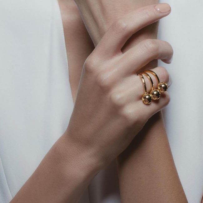 24K Gold Plated World Single Ring by Cristina Ramella