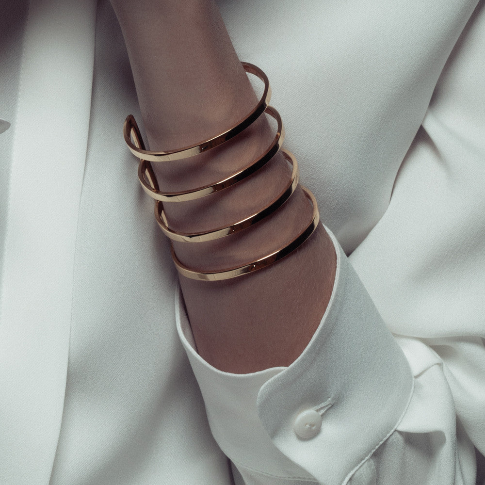 parallel lines cuff bracelet gold cristina ramella jewelry travel the world wanderlust wearing