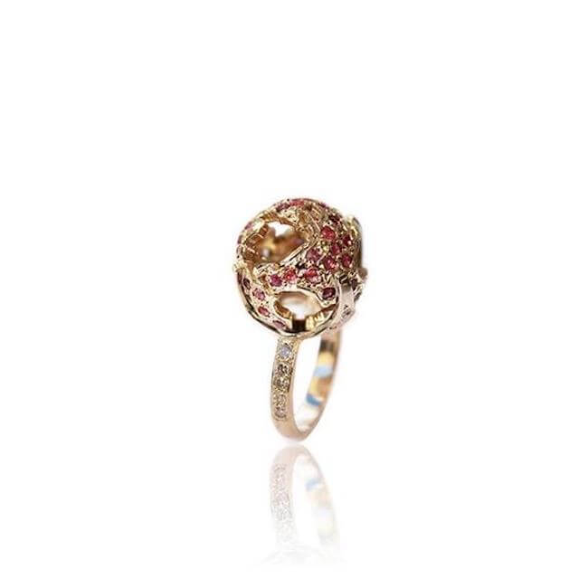 14K Gold with rubies World Globe Rubies Ring by Cristina Ramella