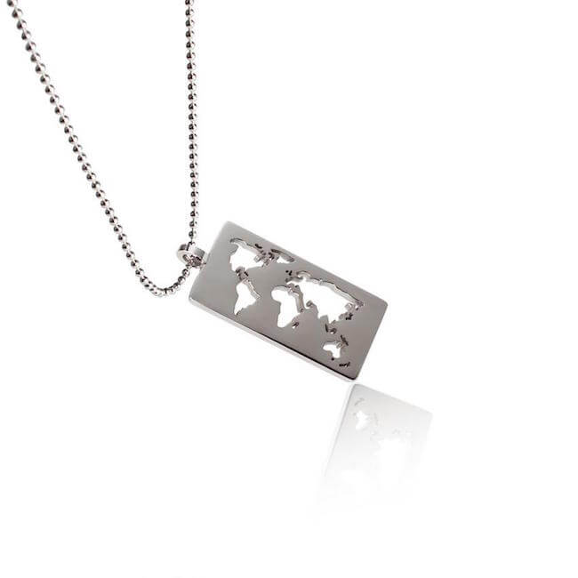 Rhodium Plated World Map Necklace by Cristina Ramella
