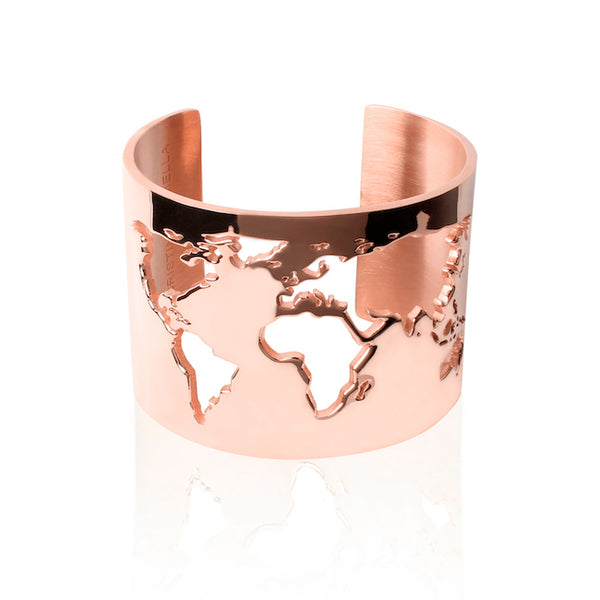 24K Rose Gold Plated World Cuff