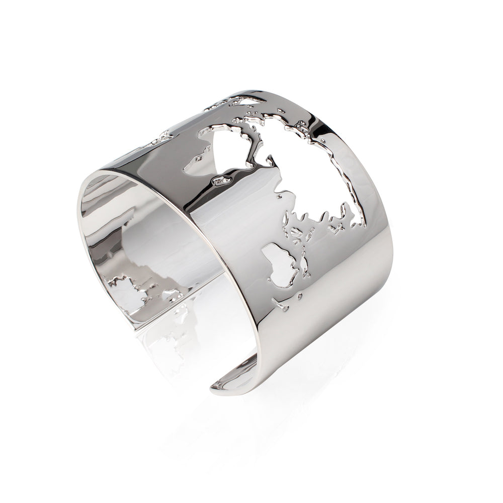 Rhodium Plated World Cuff