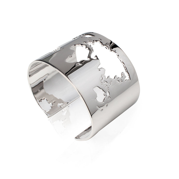 Rhodium Plated World Cuff by Cristina Ramella