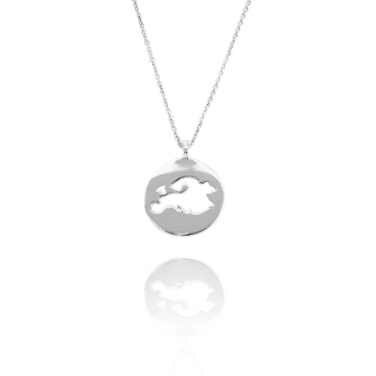 Rhodium Plated World Europe Necklace by Cristina Ramella