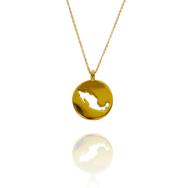 24K Gold Plated Mexico Outline Pendant by Artelier front View