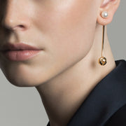 24K Gold Plated Long Pearl Earrings by Cristina Ramella