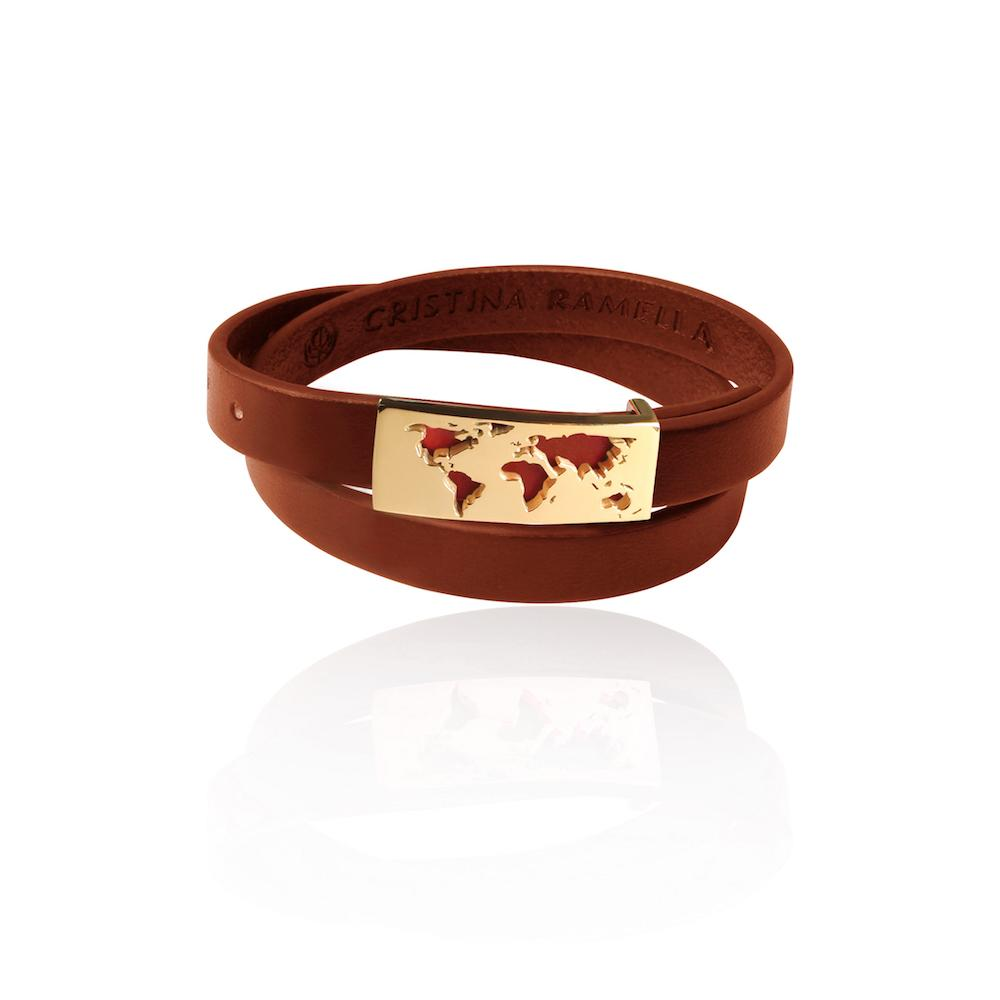 Gold Map Brown Leather Bracelet by Cristina Ramella