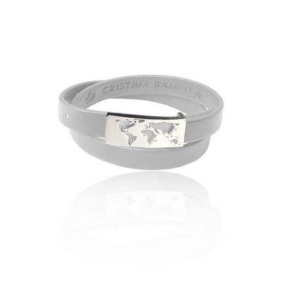 Rhodium Plated White Map Leather Bracelet by Cristina Ramella