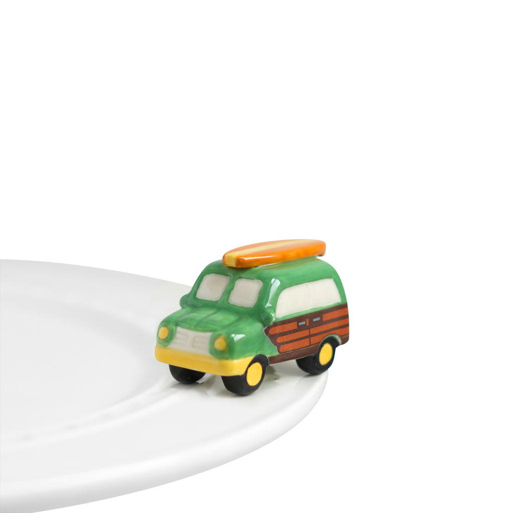 "Nora fleming mini mini figure ceramic minis gift present woody station wagon ""surf's up!"" summer surf beach vacation vintage endless summer"