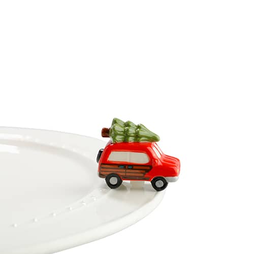 "Nora fleming mini mini figure ceramic minis gift present woody with tree ""just like the griswolds"" station wagon christmas tree christmas time festive holidays"