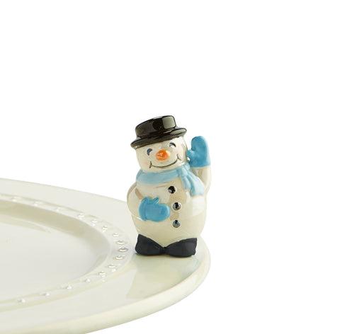 "Nora fleming mini mini figure ceramic minis gift present snowman frosty the snowman ""frosty pal"" christmas christmastime festive holidays winter snow"
