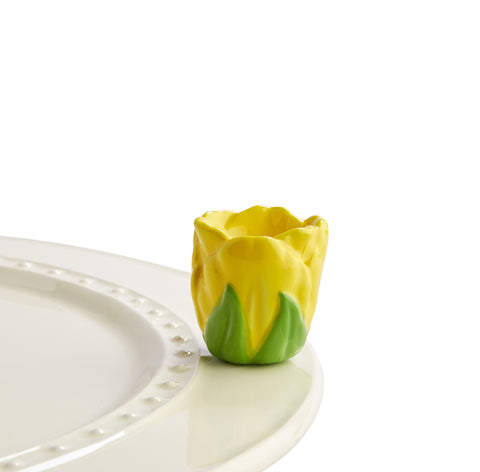 "Nora fleming mini mini figure ceramic minis gift present yellow tulip ""tiptoe thru 'em"" flower flowers meadow garden spring springtime"