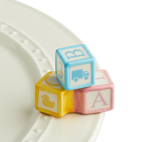"Nora Fleming ""Nora Fleming Minis"" mini figure ceramic minis gift present baby baby shower babyshower baby sprinkle nursery day care toys blocks baby blocks ""ohhh, baby!"" gender reveal"