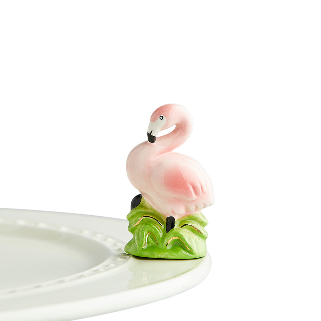"Nora Fleming ""Nora Fleming Minis"" mini figure ceramic minis gift present ""tickled pink"" flamingo animals summer tropical beach vacation"
