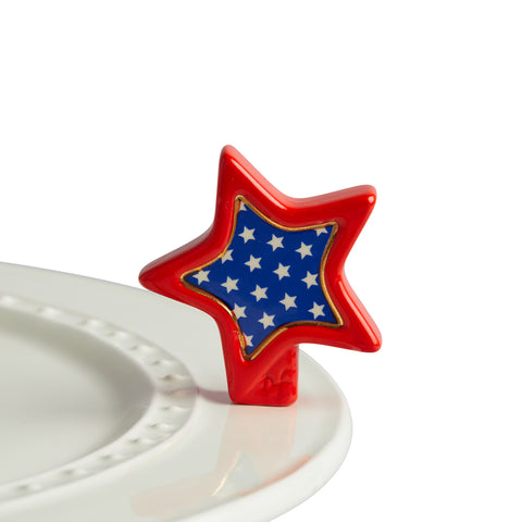 "Nora fleming mini mini figure ceramic minis gift present ""sparkly star"" star red white blue independence day 4th of july patriotic usa united states of america memorial day"