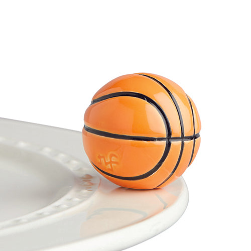 "Nora Fleming ""Nora Fleming Minis"" mini figure ceramic minis gift present basketball march madness tailgate ncaa hoop hoops ""hoop there it is"""