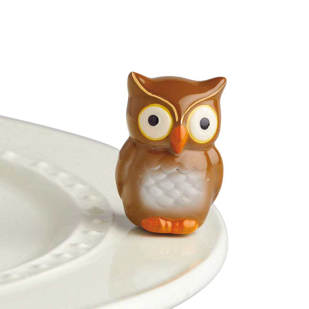 "Nora Fleming ""Nora Fleming Minis"" mini figure ceramic minis gift present owl ""be whoo you are"" fall autumn winter halloween spooky autumnal animal bird"