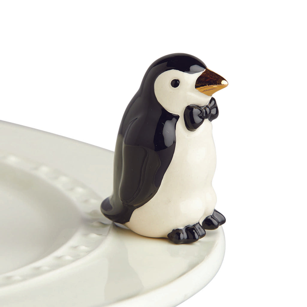 "Nora Fleming ""Nora Fleming Minis"" mini figure ceramic minis gift present penguin ""tiny tuxedo"" black and white winter christmas wedding celebration cute animal bird cold"