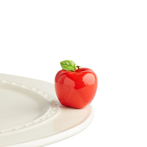 "Nora fleming mini mini figure ceramic minis gift ""an apple a day"" apple fall autumn teacher ""teacher gift"", mini, apple, orchard"