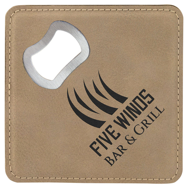 Faux Leather Bottle Opener Coasters (Assorted Colors)
