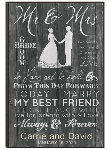 Chalkboard Mr. and Mrs. Plaque