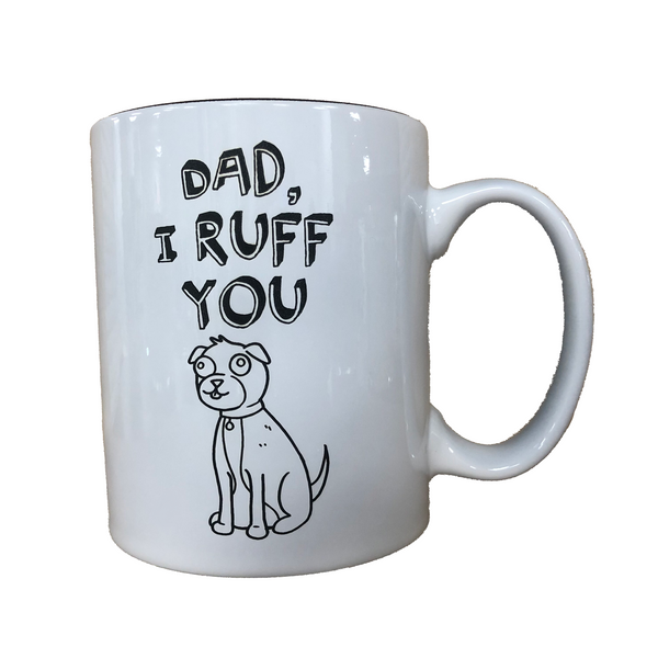 father's day dad daddy day gift present personalized custom engraving laser engraving free personalized engraving mug custom father's day mug dog dad i ruff you