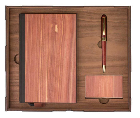 Real Wood Journal Gift Set with Business Card Holder and Pen