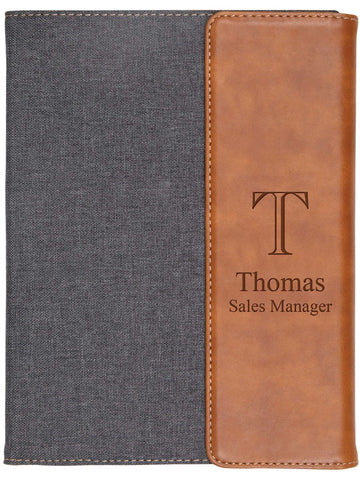 Small Grey & Tan Faux Leather Padfolio