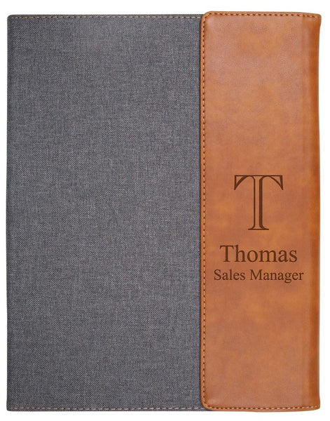 Large Grey & Tan Faux Leather Padfolio