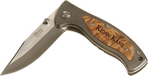 "Wood Pocket Knife w/ Clip - 3.25"" Blade"