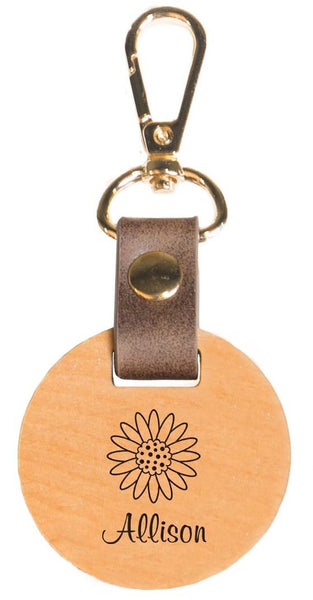 Wooden Circle Key Chain